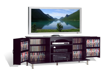 Premier Large Flat Panel Plasma / LCD TV Console with Media Storage, Black
