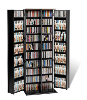 Grande Locking Media Storage Cabinet with Shaker Doors, Black