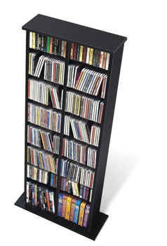 Double Multimedia Storage Tower, Black