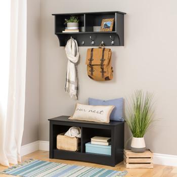 "36"" Wide Hanging Entryway Shelf, Black"