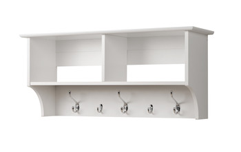 """36"""" Wide Hanging Entryway Shelf, White"""
