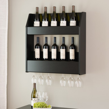 2-Tier Floating Wine and Liquor Rack, Black