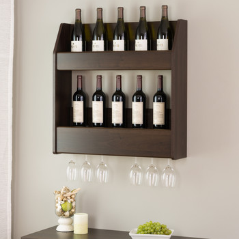 2-Tier Floating Wine and Liquor Rack, Espresso