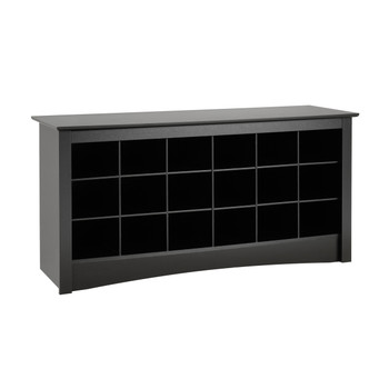 18 pair Shoe Storage Cubby Bench, Black