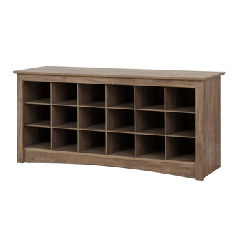 18 pair Shoe Storage Cubby Bench, Drifted Gray