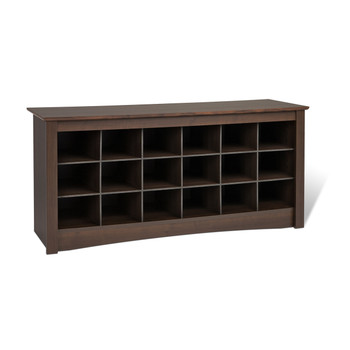 18 pair Shoe Storage Cubby Bench, Espresso