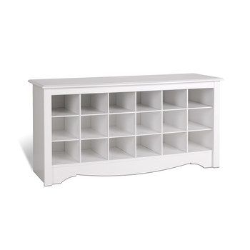 18 pair Shoe Storage Cubby Bench, White
