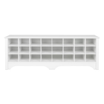 24 pair Shoe Storage Cubby Bench, White