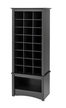 24 pair Shoe Storage Rack with bottom shelf, Black