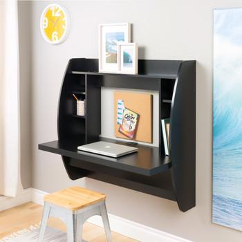 Floating Desk with Storage, Black