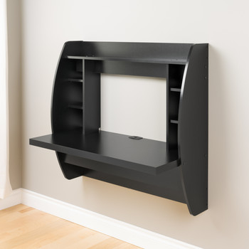 Floating Desk with Storage, Black