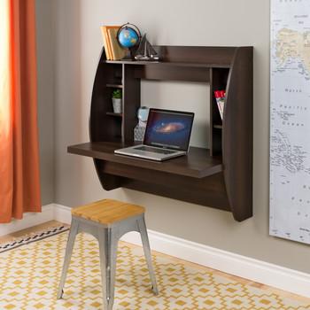 Floating Desk with Storage, Espresso