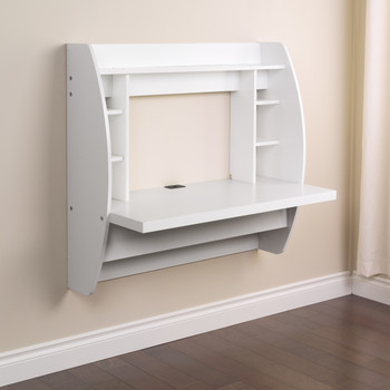 Floating Desk with Storage, White