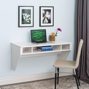 Designer Floating Desk, White