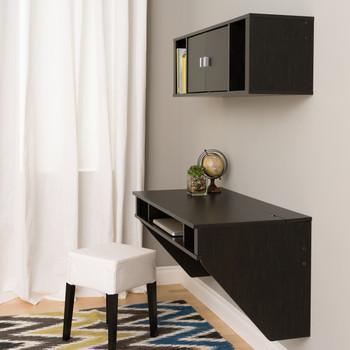 Designer Floating Desk & Hutch Set, Washed Black