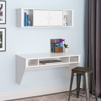 Designer Floating Desk & Hutch Set, White