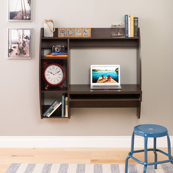Floating Desk with Storage and Keyboard Tray, Espresso