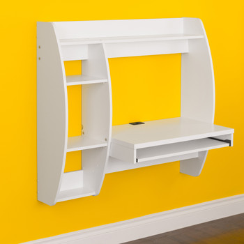 Floating Desk with Storage and Keyboard Tray, White
