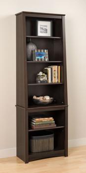 Tall Slant-Back Bookcase, Espresso