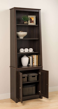 Tall Slant-Back Bookcase with 2 Shaker Doors, Espresso