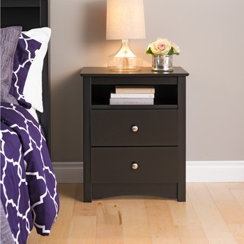 Sonoma Tall 2-Drawer Nightstand with Open Shelf, Black