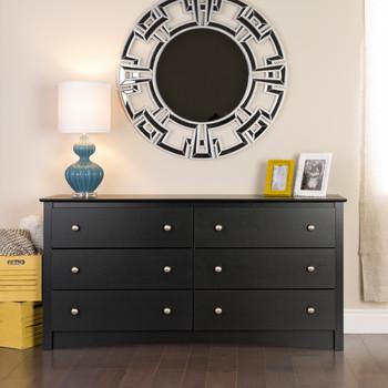 Sonoma 6 Drawer Dresser, Black