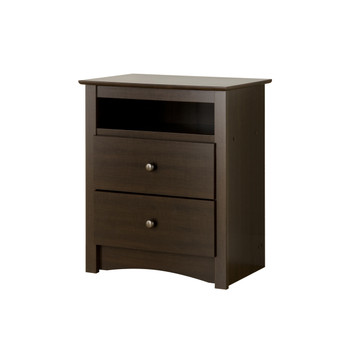 Fremont Tall 2-Drawer Nightstand with Open Shelf, Espresso
