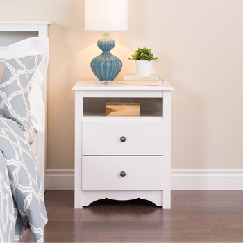 Monterey Tall 2-Drawer Nightstand with Open Shelf, White