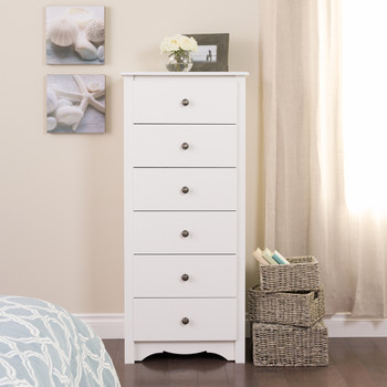 Monterey Tall 6-Drawer Chest, White