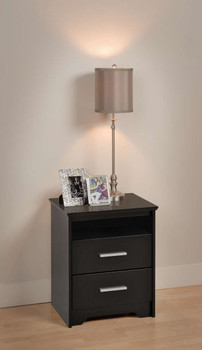 Coal Harbor 2-Drawer Tall Nightstand with Open Shelf, Black