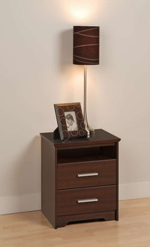 Coal Harbor 2-Drawer Tall Nightstand with Open Shelf, Espresso