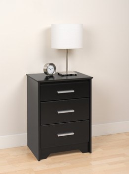 Coal Harbor 3-Drawer Tall Nightstand, Black