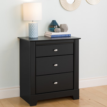 Kallisto 3-Drawer Nightstand, Black