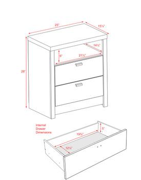 Series 9 Designer - Tall 2-Drawer Nightstand, Black