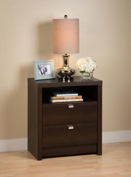 Series 9 Designer - Tall 2-Drawer Nightstand, Espresso