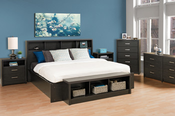 District Tall 2-Drawer Nightstand, Washed Black