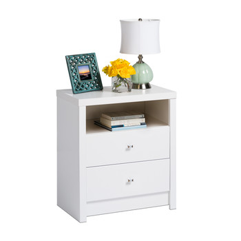 Calla Tall 2-Drawer Nightstand, White