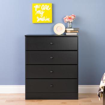 Astrid 4-Drawer Dresser, Black