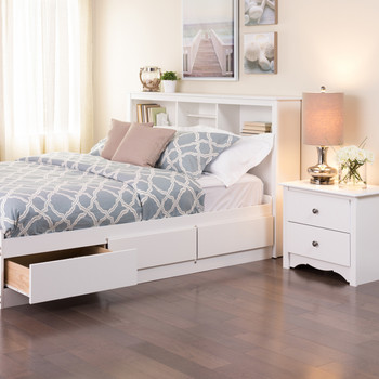 Full /  Queen Bookcase Headboard, White