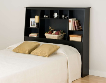 Full/Queen Tall Slant-Back Bookcase Headboard, Black