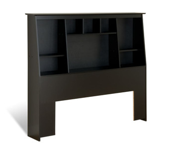 Full/Queen Tall Slant-Back Bookcase Headboard, Black