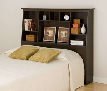 Espresso Full/Queen Tall Slant-Back Bookcase Headboard