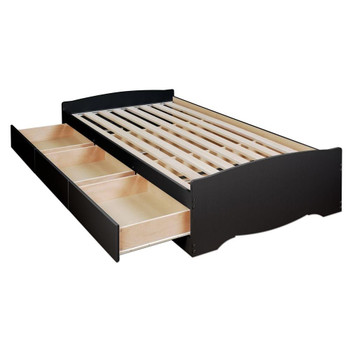 Twin Mate's Platform Storage Bed with 3 Drawers, Black