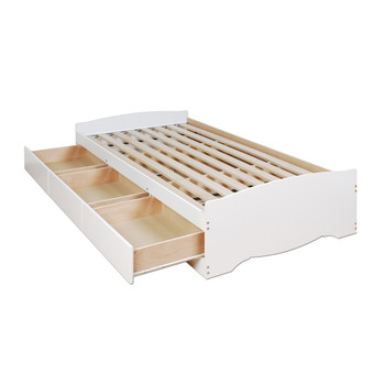 Twin Mate's Platform Storage Bed with 3 Drawers, White