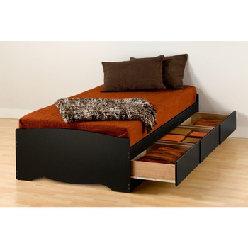 Twin XL Mate's Platform Storage Bed with 3 Drawers, Black