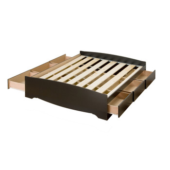 Full Mate's Platform Storage Bed with 6 Drawers, Black