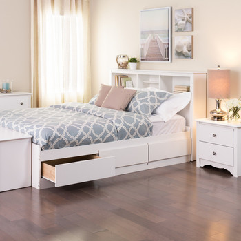 Full Mate's Platform Storage Bed with 6 Drawers, White