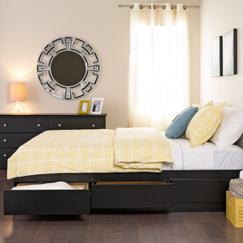 Queen Mate's Platform Storage Bed with 6 Drawers, Black