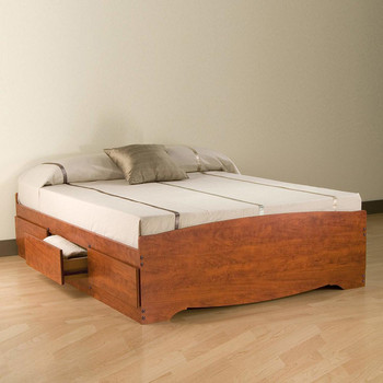 Queen Mate's Platform Storage Bed with 6 Drawers, Cherry