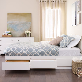 Queen Mate's Platform Storage Bed with 6 Drawers, White